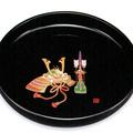 紀州漆器 丸盆 黒金蒔絵 かぶと 日本製