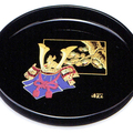 紀州漆器 丸盆 黒 金蒔絵 ほまれ兜 日本製
