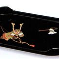 紀州漆器 コーヒートレー 黒 かぶと 日本製