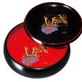 紀州漆器 丸盆付ボール 黒 金蒔絵 ほまれ兜 日本製