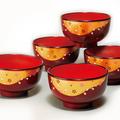 紀州漆器 レンジ汁椀 溜内朱 金雲桜(5客入)食器洗浄機対応 日本製