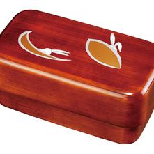 紀州漆器 長角入子弁当箱 杢目 かくれんぼ タッパー付 食器洗機・電子レンジ対応 日本製