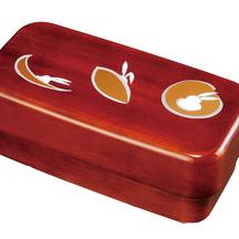 紀州漆器 長角入子弁当箱 特大 杢目 かくれんぼ タッパー付 食器洗機・電子対応 日本製