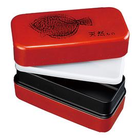 紀州漆器 長角入子弁当箱 特大 根来 ひらめ タッパー付 食器洗い機・電子レンジ対応 日本製