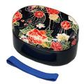 紀州漆器 小判二段弁当箱 春秋 布貼 (ゴムバンド付き) 日本製