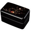 紀州漆器 塗り弁当箱 枝梅 タッパー・仕切付 日本製