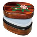 紀州漆器 宝来弁当箱 杢目 しゃくなげ タッパー付 日本製